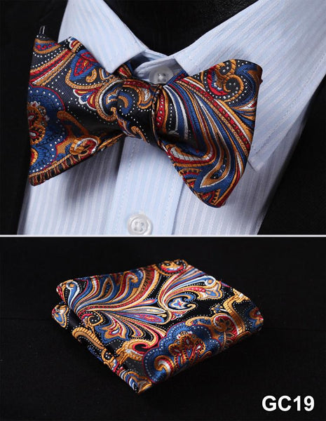 GC19 BLUE, RED, GOLD Floral 100% Silk Butterfly Tie Self Tie Bow Tie Pocket Squa