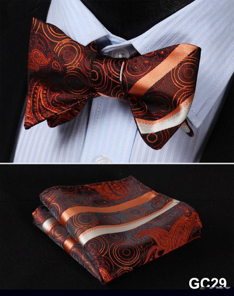GC29 ORANGE Floral 100% Silk Butterfly Tie Self Tie Bow Tie Pocket Square Bow ti