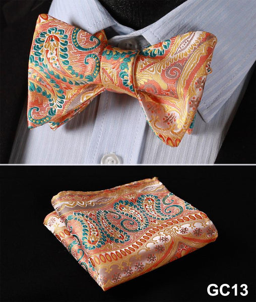 GC13 ORANGE, GREEN,Floral 100% Silk Butterfly Tie Self Tie Bow Tie Pocket Square