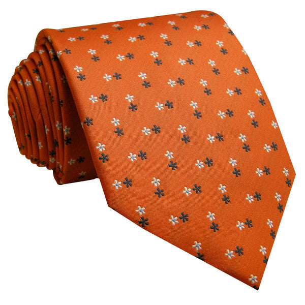 U16 Mens Ties Orangere Floral Silk Handmade Wedding Fashion Classic Brand New Dr