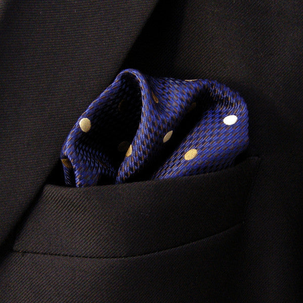 Dots Blue Navy Khaki Handkerchiefs Neckties Silk Pocket Square Pocket Square