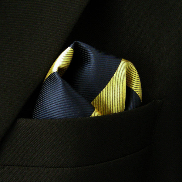 PH27 Stripes Navy Blue Yellow Khaki Pocket Square Mens Neckties Handkerchief Han