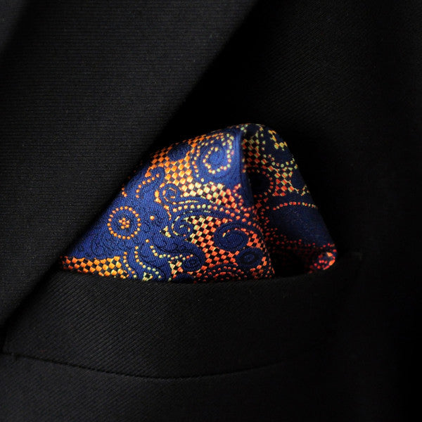 MH20 Handkerchief Hanky Pattern Floral Multicolor Navy Pocket Square Mens Neckti