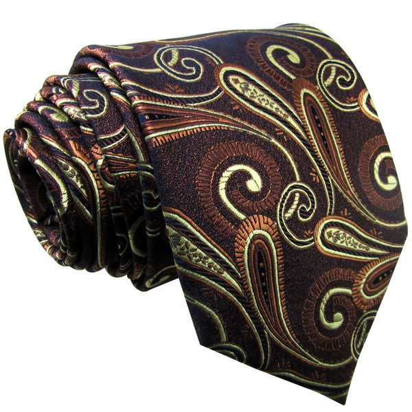 Q7 Paisley Chocolate Light Yellow Mens Necktie Ties 100% Silk Jacquard Woven