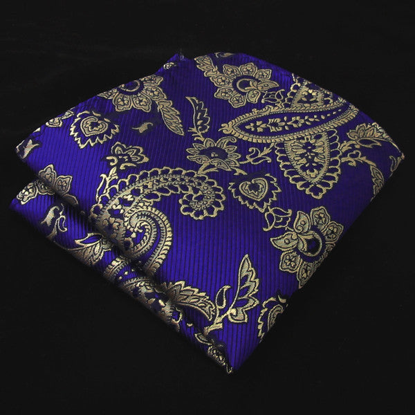 KH10 Floral Blue Navy Purple Khaki Gold Pocket Square