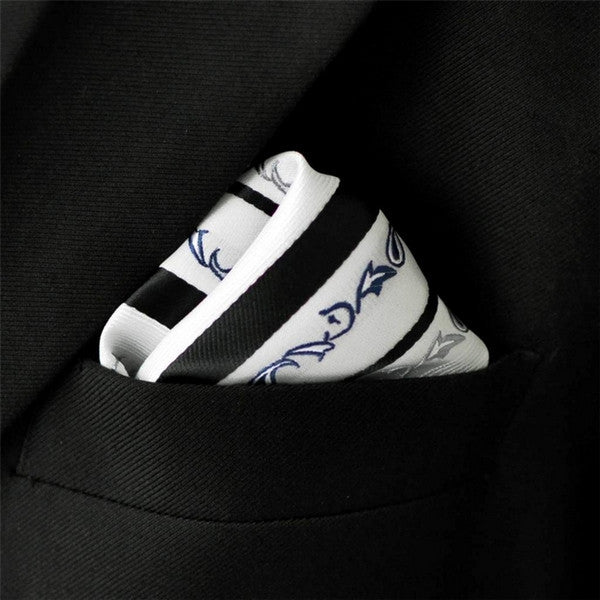 MH7 Stripes Floral White Black Hanky Neckties Silk