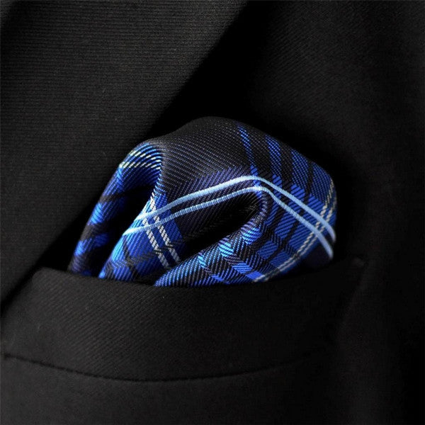 MH22 Checked Blue Navy Black Mens Silk Pocketsquare Woven Hanky Suit Gift