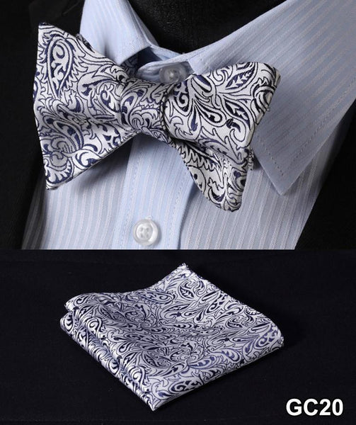 GC20 GRAY Floral 100% Silk Butterfly Tie Self Tie Bow Tie Pocket Square Bow tie