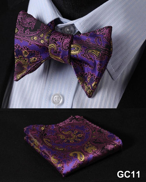 GC11 PURPLE Floral 100% Silk Butterfly Tie Self Tie Bow Tie Pocket Square Bow ti