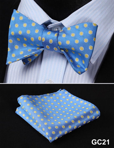 GC21 BLUE, YELLOW Floral 100% Silk Butterfly Tie Self Tie Bow Tie Pocket Square