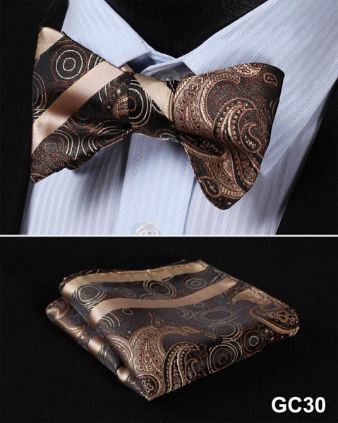 GC30 BROWN Floral 100% Silk Butterfly Tie Self Tie Bow Tie Pocket Square Bow tie