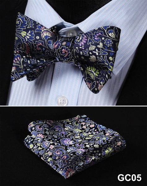 GC05 PURPLE, BLUE,GREEN Floral 100% Silk Butterfly Tie Self Tie Bow Tie Pocket S