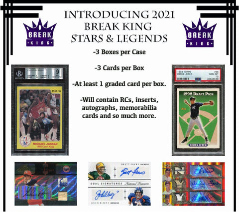 21BKHL17 - 2020 BREAK KINGS HEROES AND LEGENDS 3 BOX CASE #17