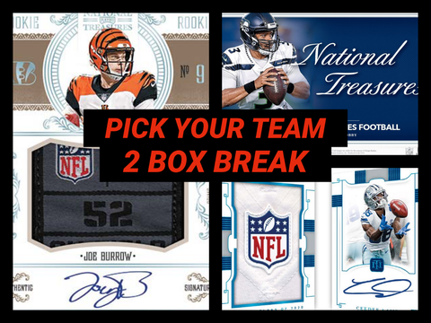 20NTPYT1- 2020 NATIONAL TREASURES FOOTBALL 2 BOX PICK YOUR TEAM BREAK #1