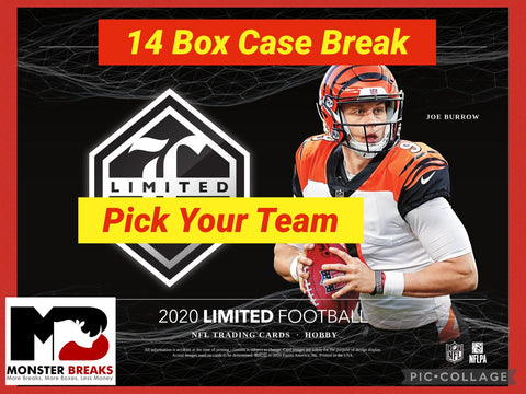20LTPYT3- 2020 LIMITED FOOTBALL 14 BOX PICK YOUR TEAM CASE BREAK #3