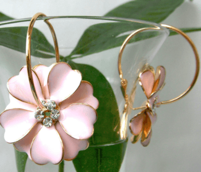 Astara Flower Enamel Crystal Hoop Earrings - Pearl + Creek