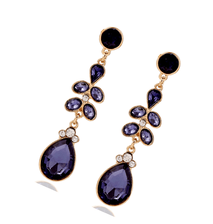 Astrid Purple Crystal and Diamond Chandelier Tear Drop Earrings - Pearl + Creek