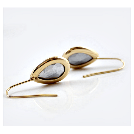 Beatrice Black + Tiny white stone Drop Earrings - Pearl + Creek