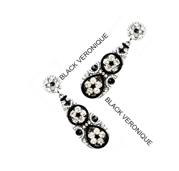 Black Veronique Rhinestone Flower Drop Earrings - Pearl + Creek