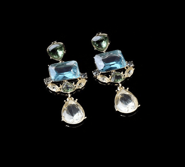 Brigitte Pale Blue Green + Grey Crystal Drop Earrings - Pearl + Creek