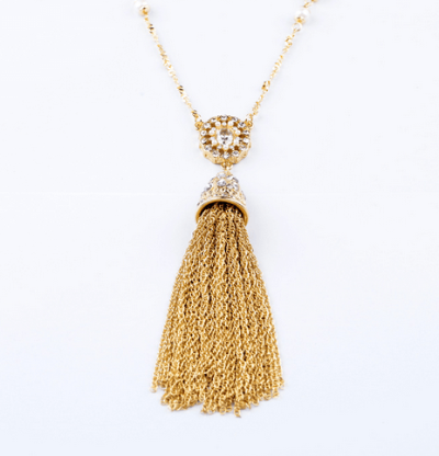Cera Gold + Pearl Tassel Rope Necklace with Crystal Pendant - Pearl + Creek