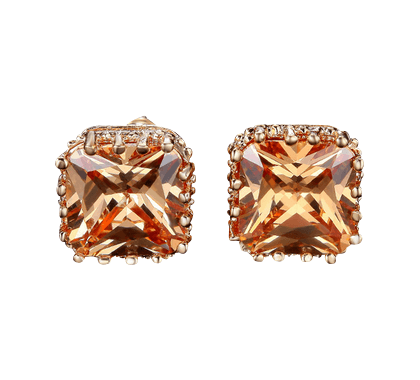 CLOE Square Champagne 'Diamond' Crystal Stud Earrings in Rose Gold - Pearl + Creek