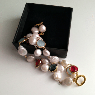 Elizabeth White Pearl and Crystal Bracelet - Pearl + Creek