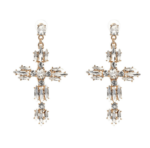 Evangelina White Crystal Cross Earrings
