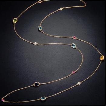 Gemma Long Crystal Necklace - Pearl + Creek