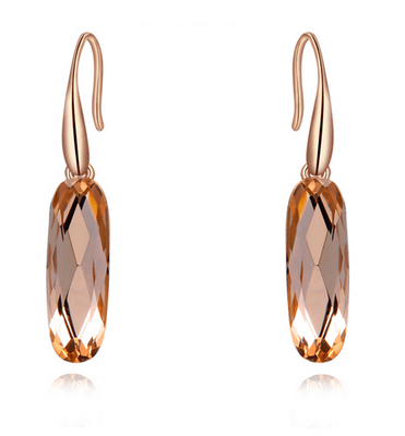 India Pink Champagne Oval Crystal Drop Earrings - Pearl + Creek
