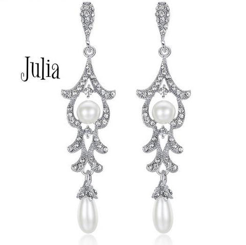 Julia Drop Crystal and Pearl Earrings - Pearl + Creek