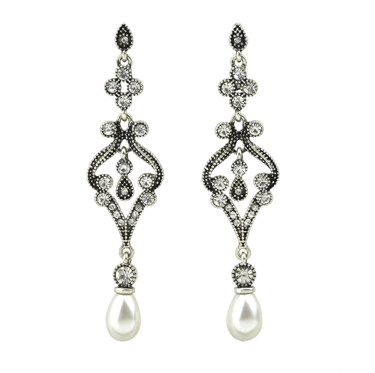 Olivia Drop Crystal and Pearl Earrings - Pearl + Creek