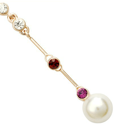 Anouska Rose Gold Pearl 'Diamond' Ruby and Amethyst Drop Earrings - Pearl + Creek