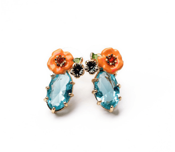 Blue Clara Flower Earrings - Pearl + Creek
