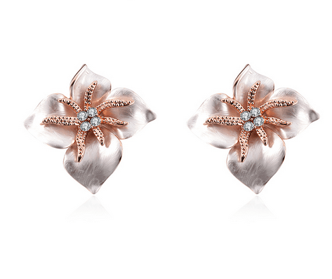 Sirin Pink Flower Enamel Earrings - Pearl + Creek
