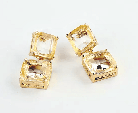 Etta Topaz Gold Square Drop Earrings - Pearl + Creek