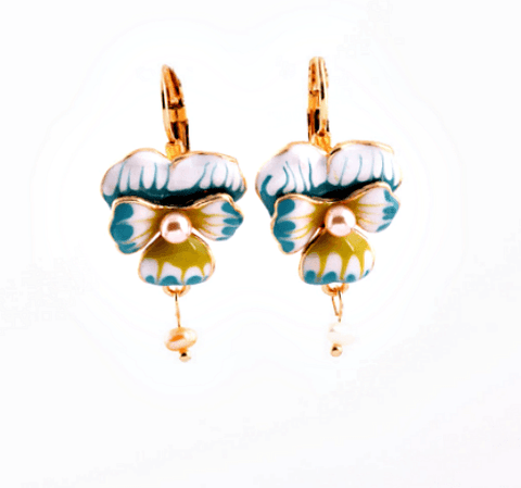 Lily Enamel + Pearl Earrings - Pearl + Creek