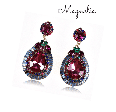 Magnolia Crystal Water Drop Earrings - Pearl + Creek