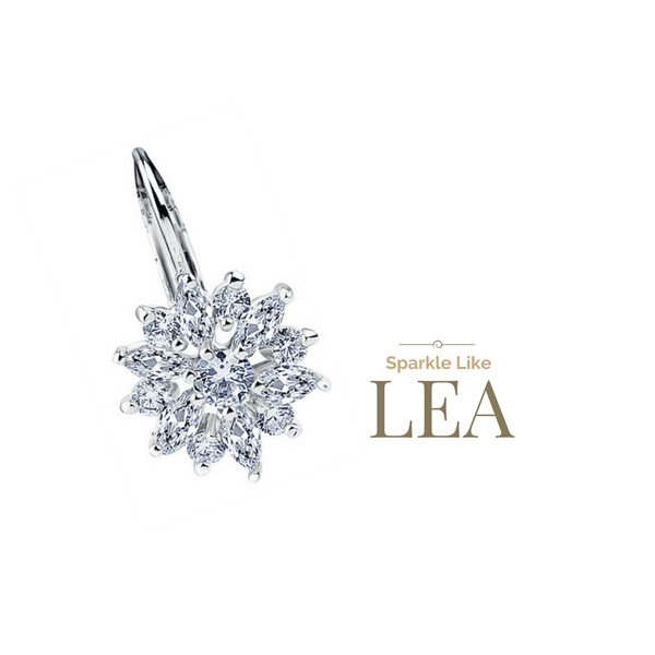 LEA Flower Austrian Crystal Earrings - Pearl + Creek