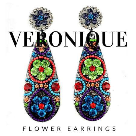Veronique Rhinestone Flower Drop Earrings - Pearl + Creek