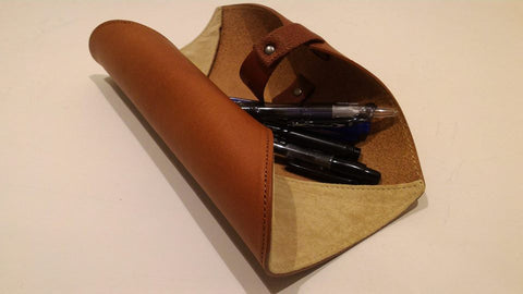 rolled up pencil case leather case