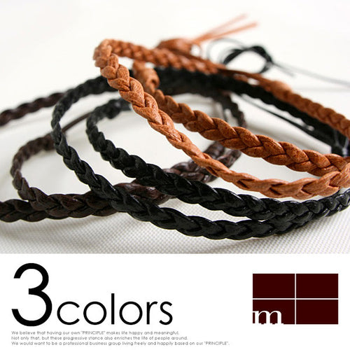 [m+] Leather Bracelet<br> Treccia W