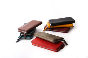 [Boosters]<br>Basic Italian Leather Long Zip Wallet