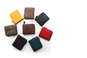 [Boosters]<br>Italian Leather Short L-Zip Wallet