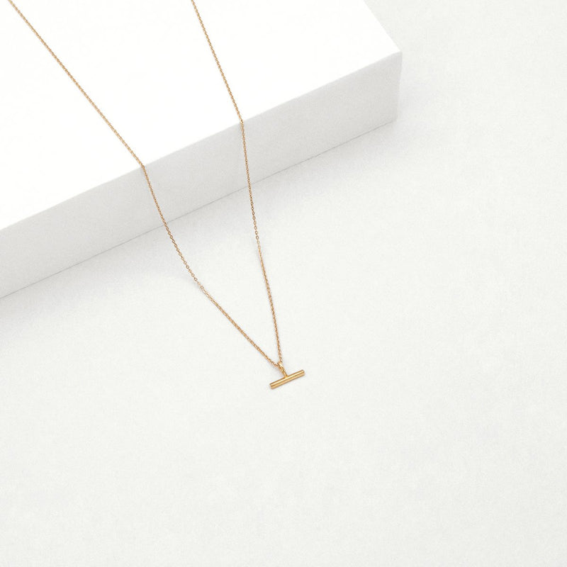 Mini T-Bar Necklace - Rose Gold Plated SS