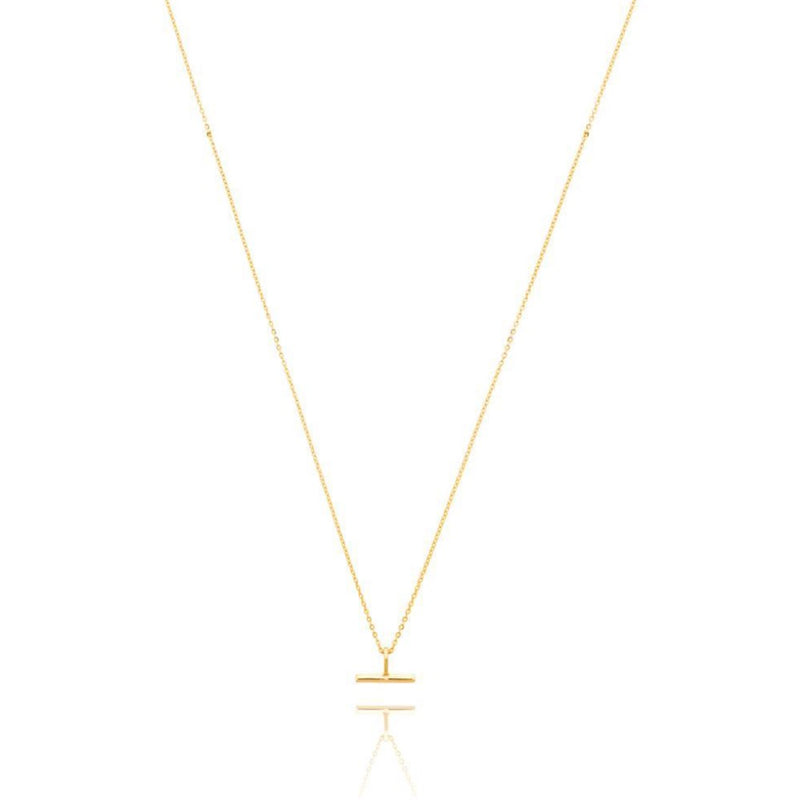 Mini T Bar Necklace - Gold Plate SS