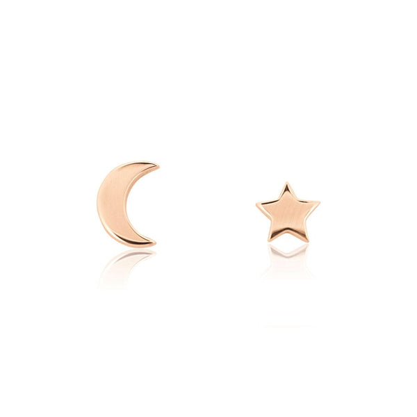 Star Moon Stud - ROSE GOLD