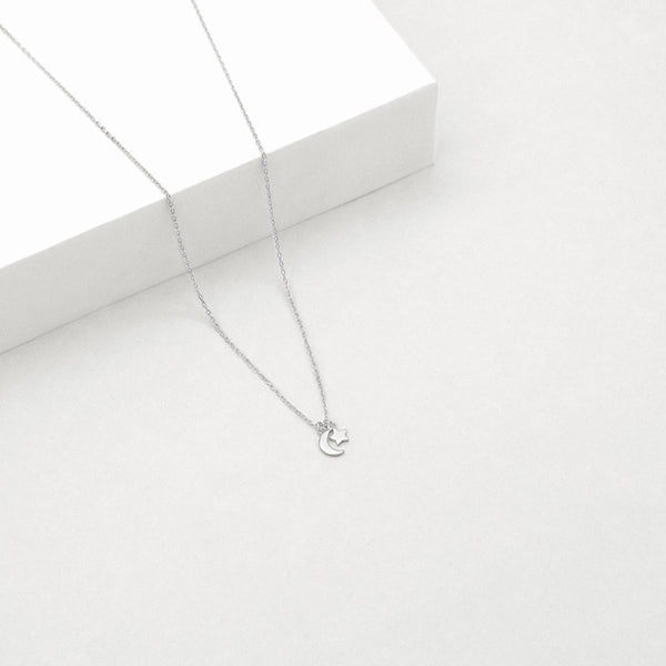 Star & Moon Necklace - Sterling Silver