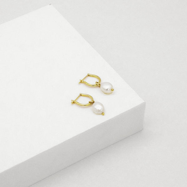 Baroque Pearl Basic Hoop Earrings - GOLD PLATED SS