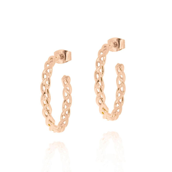 Woven Hoop Earrings - ROSE GOLD
